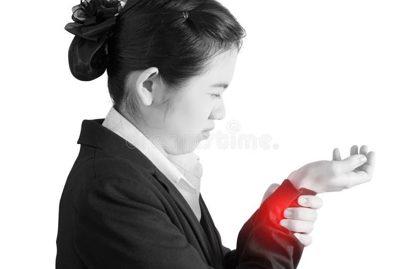 在白色背景隔绝的妇女腕子的剧痛 在白色背景的裁减路线 免版税库存照片