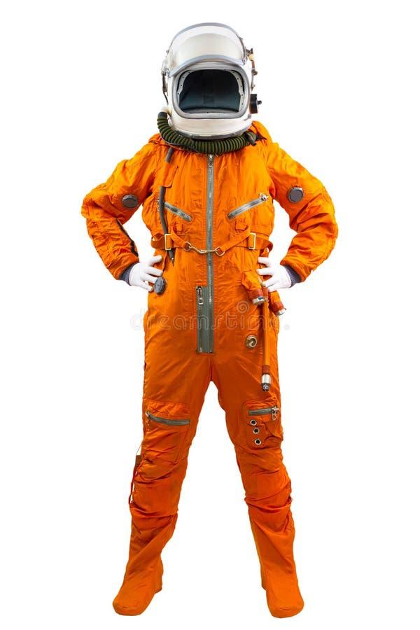 在白色背景隔绝的宇航员。 免版税库存图片