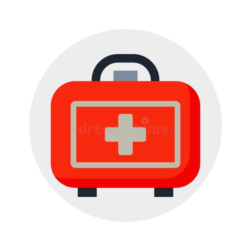 在白色背景隔绝的安全矿车医疗成套工具和医疗保健设计救护车象案件运输警告 库存例证