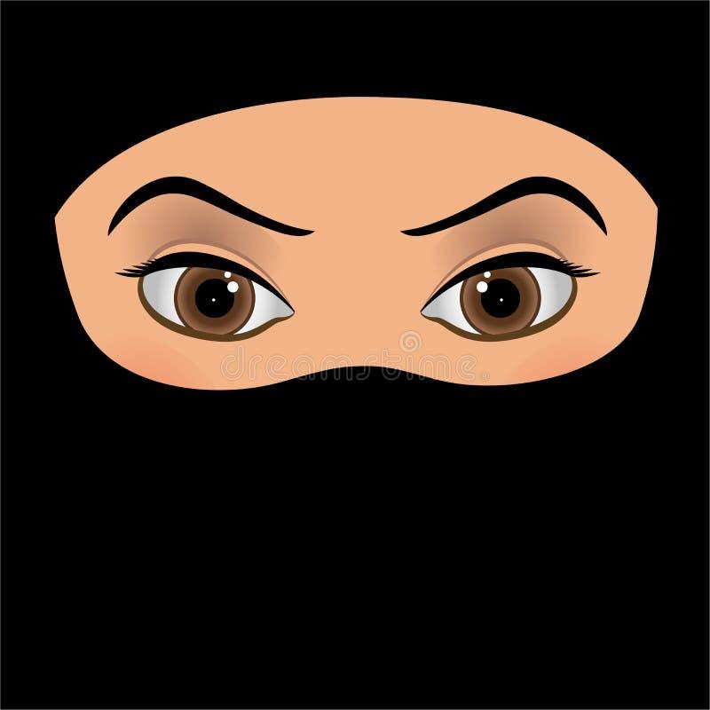 在白色背景隔绝的宗教阿拉伯回教妇女 向量例证
