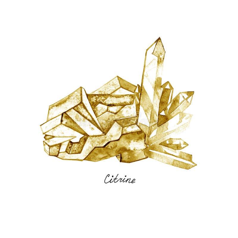 在白色背景隔绝的宝石柠檬色 例证水彩 皇族释放例证