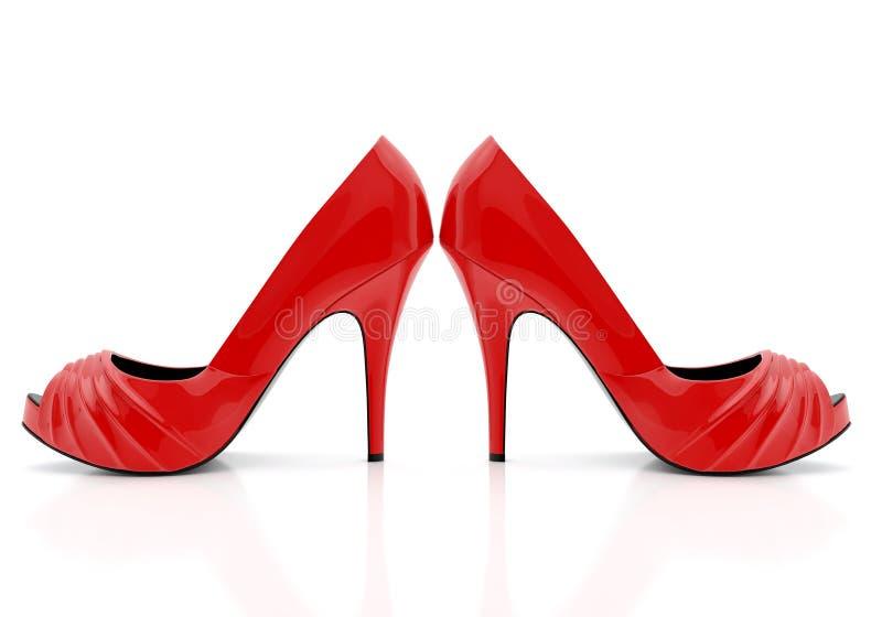 在白色背景隔绝的对红色妇女细鞋跟鞋子 向量例证