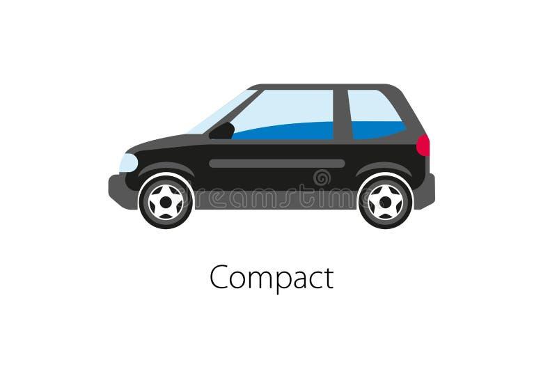 在白色背景隔绝的小型客车 葡萄酒汽车平的样式 皇族释放例证