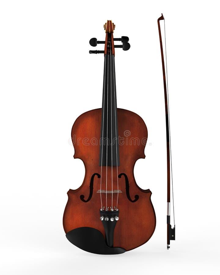 在白色背景隔绝的小提琴和无意识而不停地拨弄棍子 免版税库存照片