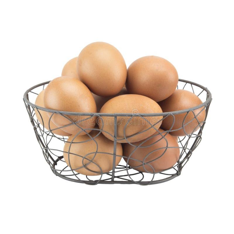 Download 在白色背景隔绝的弯曲的钢篮子的新鲜的鸡蛋 库存图片. 图片 包括有 母鸡, bataan, 背包, 烹调 - 59109743