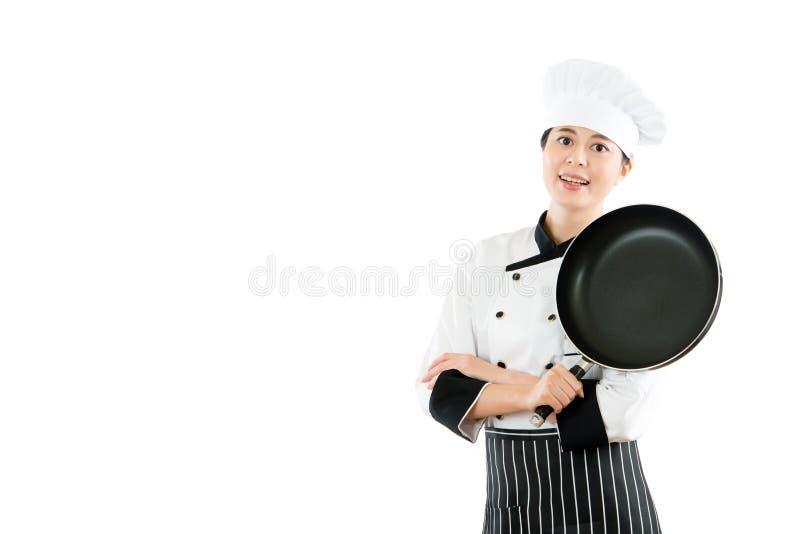 在白色背景隔绝的微笑的厨师 库存图片