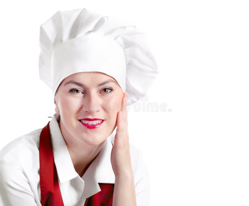 在白色背景隔绝的微笑的妇女厨师 库存图片