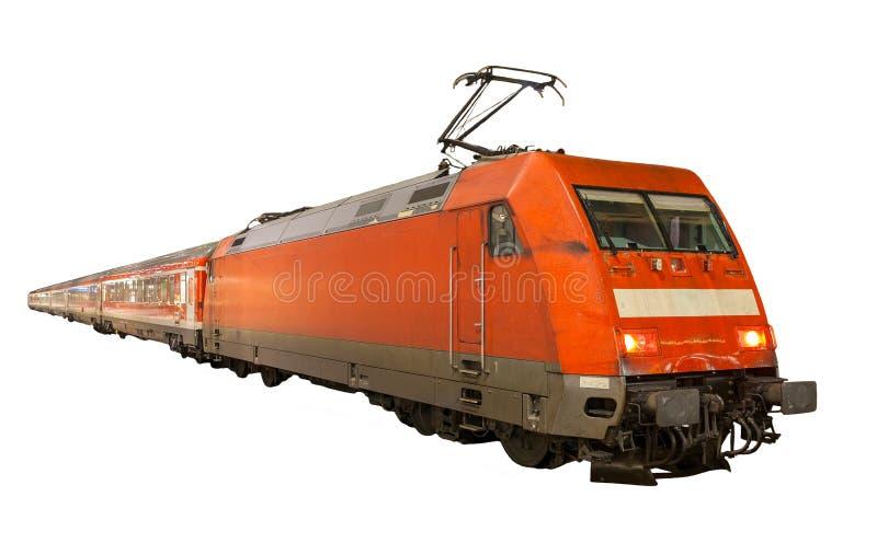 在白色背景隔绝的德国火车 免版税库存图片