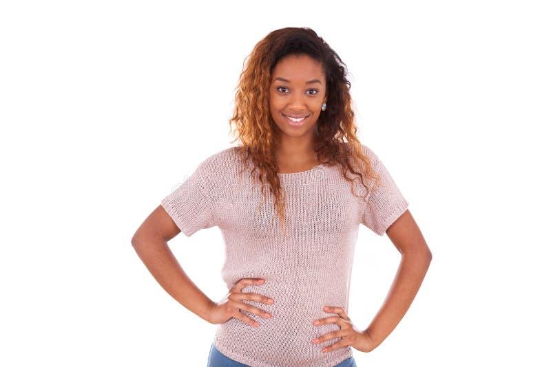 在白色背景隔绝的愉快的年轻非裔美国人- Blac 库存照片