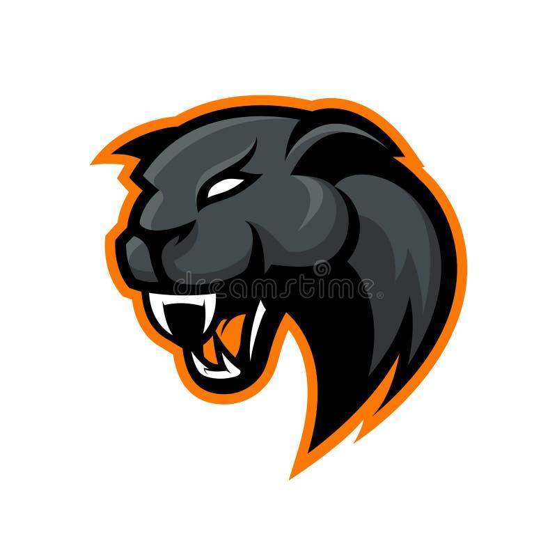在白色背景隔绝的愤怒的豹体育传染媒介商标概念 皇族释放例证