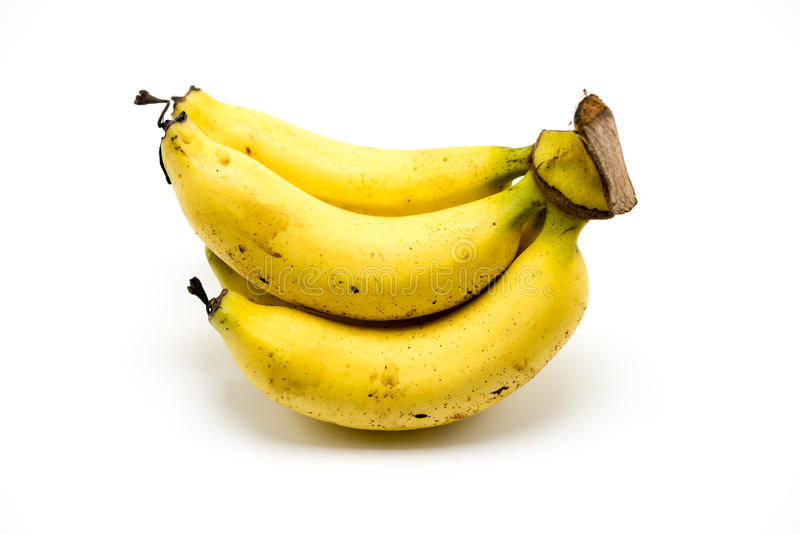 在白色背景隔绝的成熟香蕉 库存图片