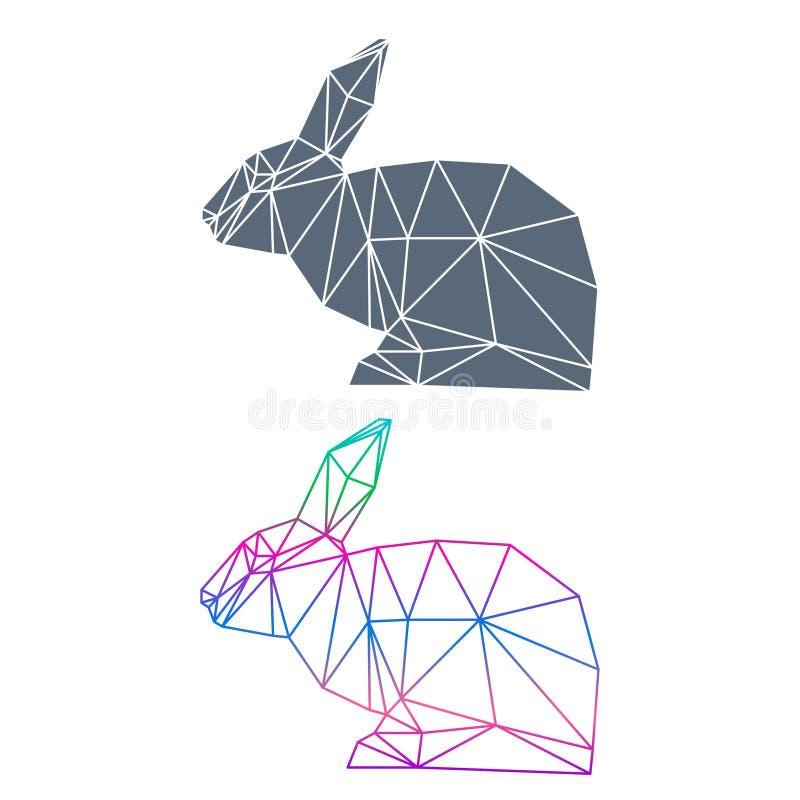 在白色背景隔绝的抽象几何兔子集合用于设计 库存例证