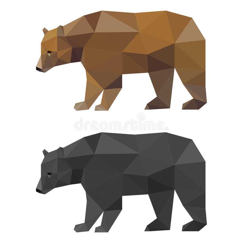 在白色背景隔绝的抽象多角形几何三角熊集合用于设计 皇族释放例证