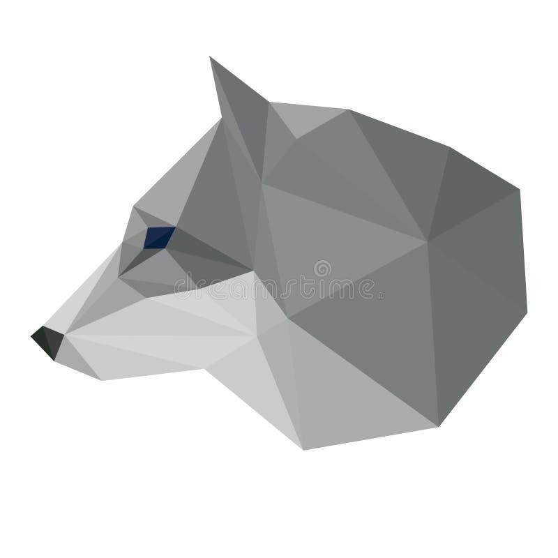 在白色背景隔绝的抽象多角形几何三角狼头用于设计 向量例证