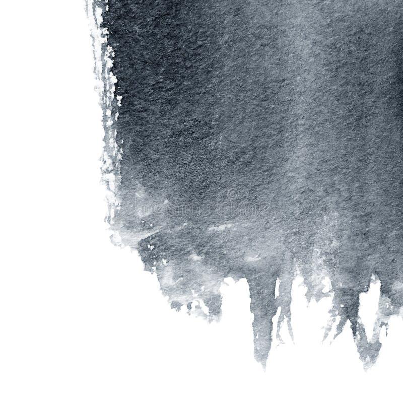 在白色背景隔绝的抽象黑水彩墨水斑点 库存照片