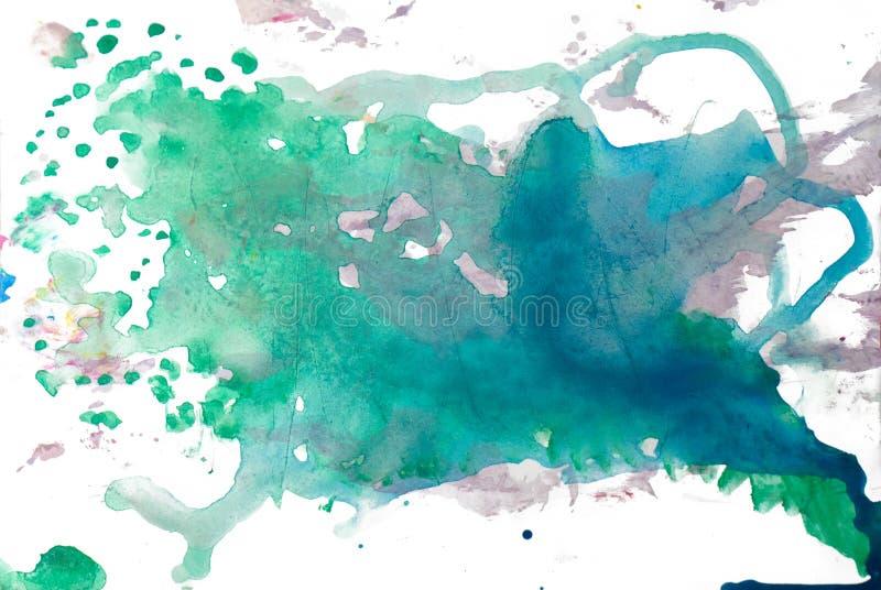 在白色背景隔绝的抽象水彩污点 向量例证