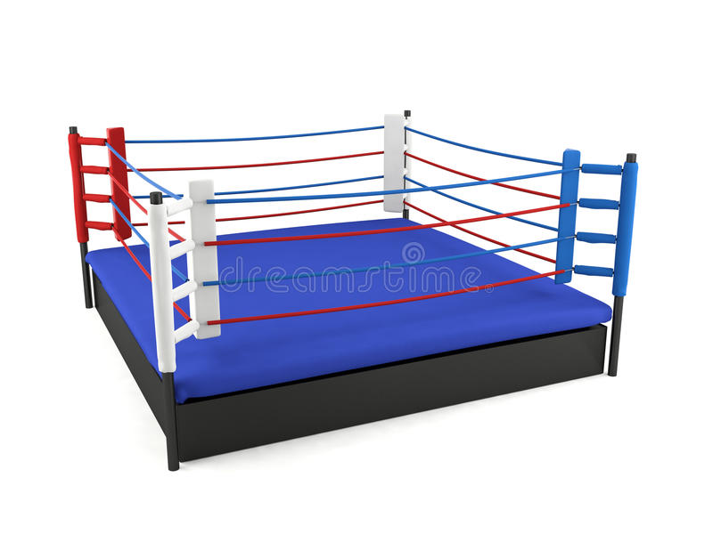 在白色背景隔绝的拳击台 向量例证
