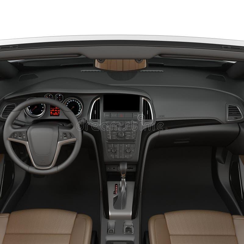 在白色背景隔绝的敞篷车跑车内部 3d例证 向量例证
