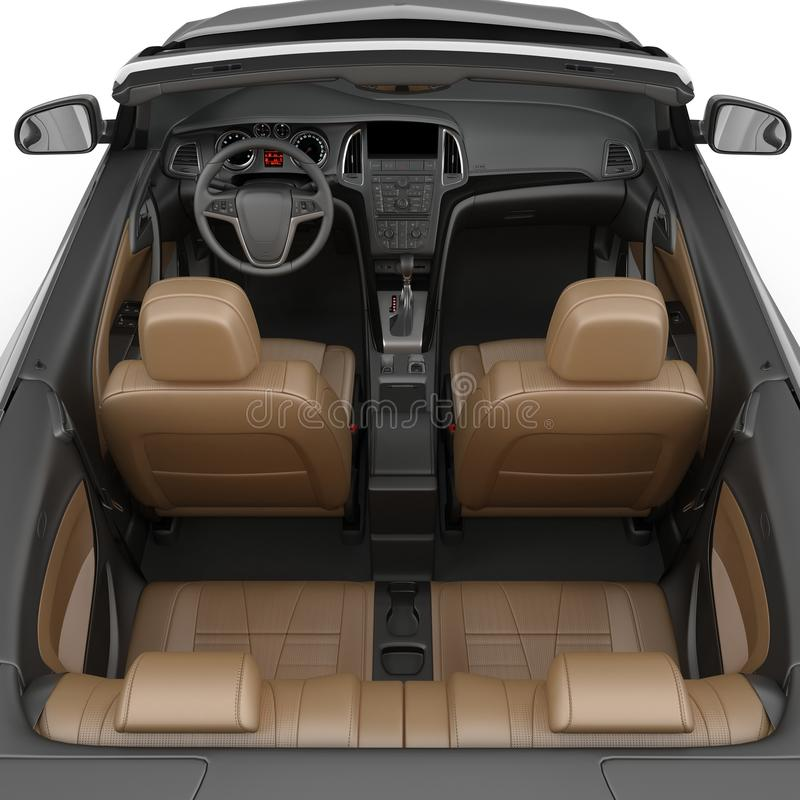 在白色背景隔绝的敞篷车跑车内部 3d例证 皇族释放例证