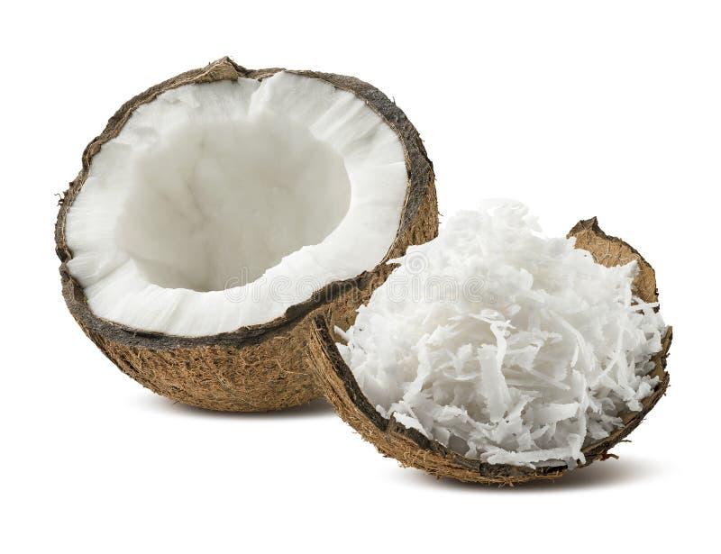 在白色背景隔绝的新近地被磨碎的椰子壳一半 库存图片