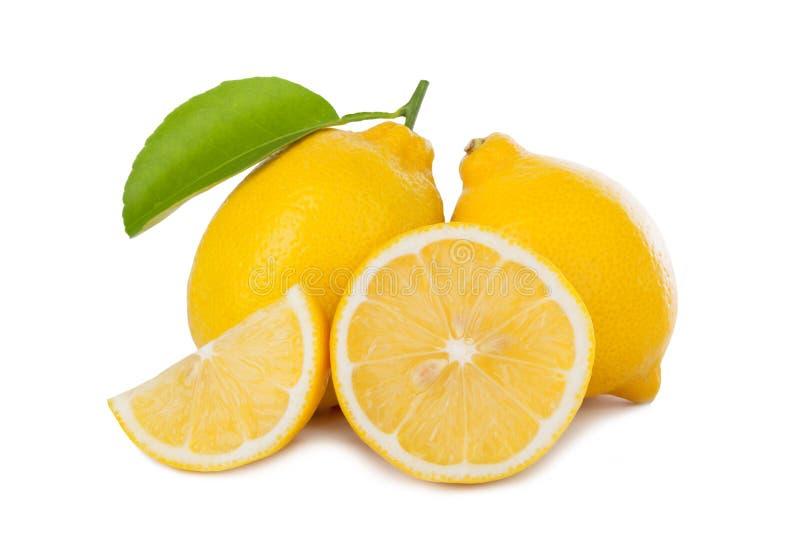 在白色背景隔绝的新鲜的柠檬 库存图片