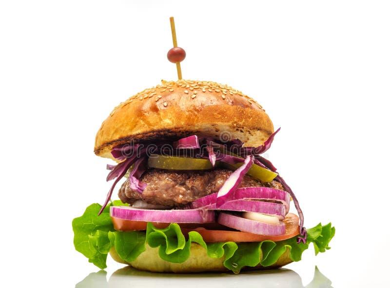 在白色背景隔绝的新鲜的汉堡包 图库摄影