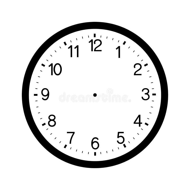 在白色背景隔绝的时钟表盘空白 库存例证