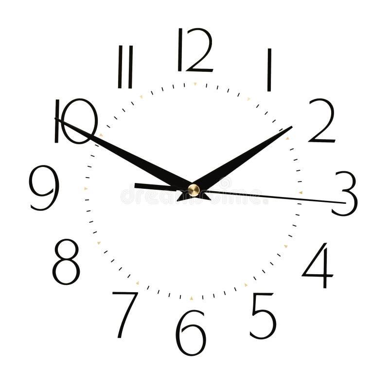在白色背景隔绝的时钟表盘-计时概念 免版税库存照片