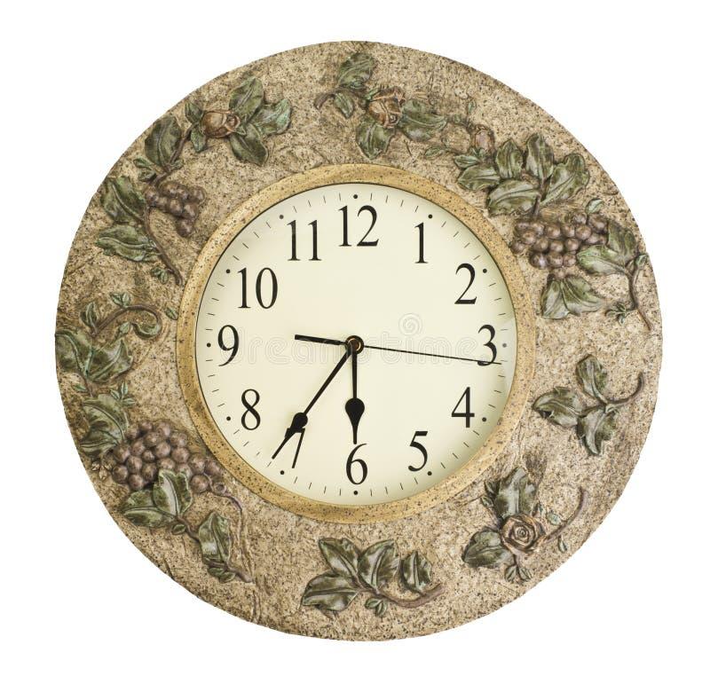 在白色背景隔绝的时钟表盘-计时概念 库存照片