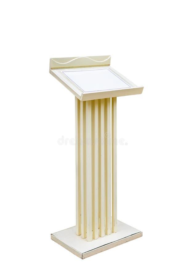 在白色背景隔绝的木指挥台论坛讲台立场 免版税图库摄影