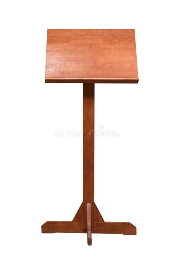 在白色背景隔绝的木指挥台论坛讲台立场 免版税库存照片