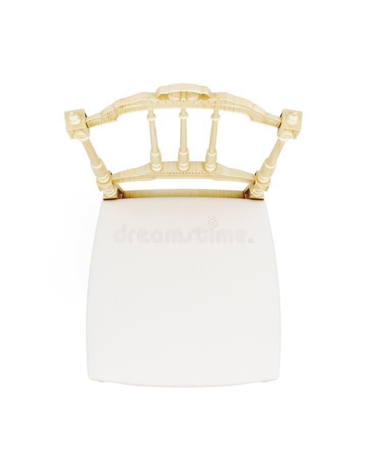 在白色背景隔绝的木椅子的顶视图 3d回报 皇族释放例证