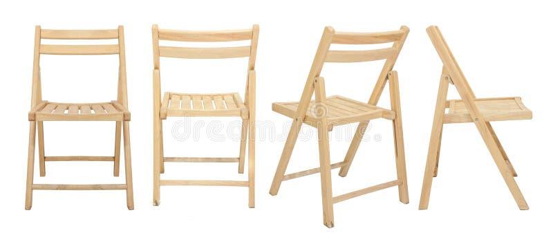 在白色背景隔绝的木椅子 免版税库存照片