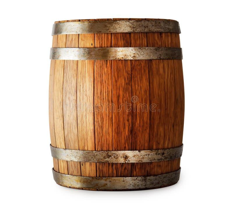 在白色背景隔绝的木橡木桶 库存照片