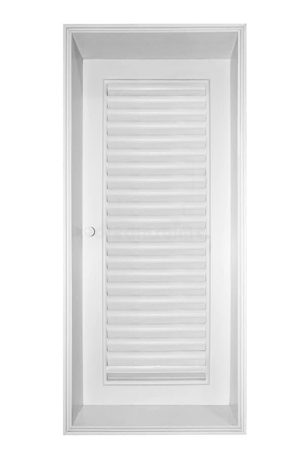 在白色背景隔绝的木窗口快门白色 免版税图库摄影