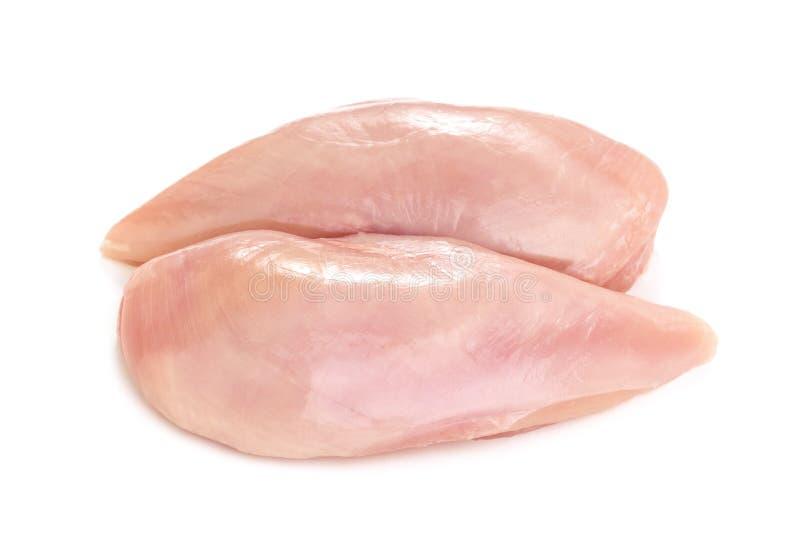 在白色背景隔绝的未加工的鸡内圆角乳房 库存图片
