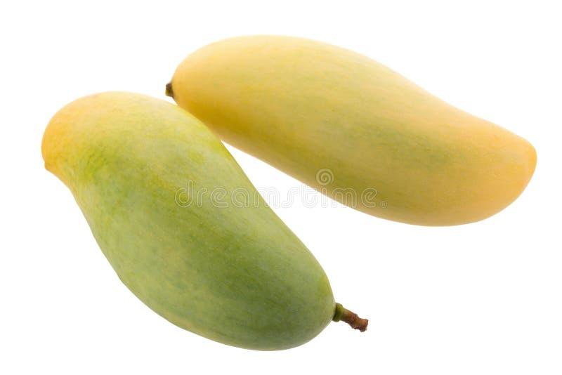 在白色背景隔绝的束甜黄色芒果果子 库存照片