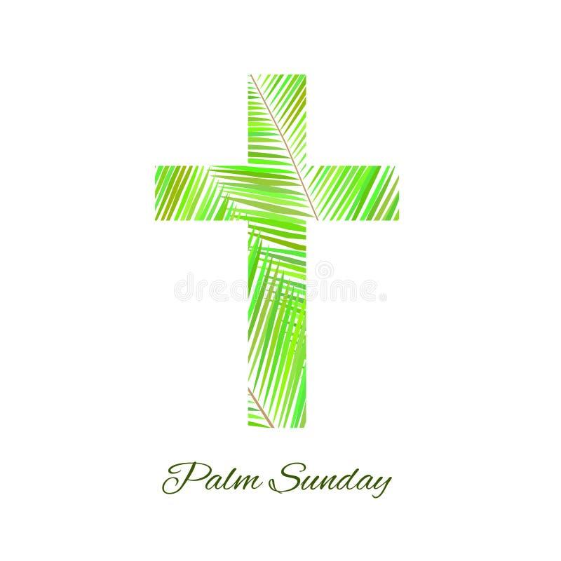 在白色背景隔绝的棕枝全日十字架 向量例证