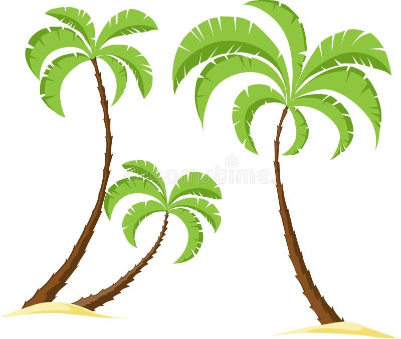 在白色背景隔绝的棕榈树-传染媒介 库存例证