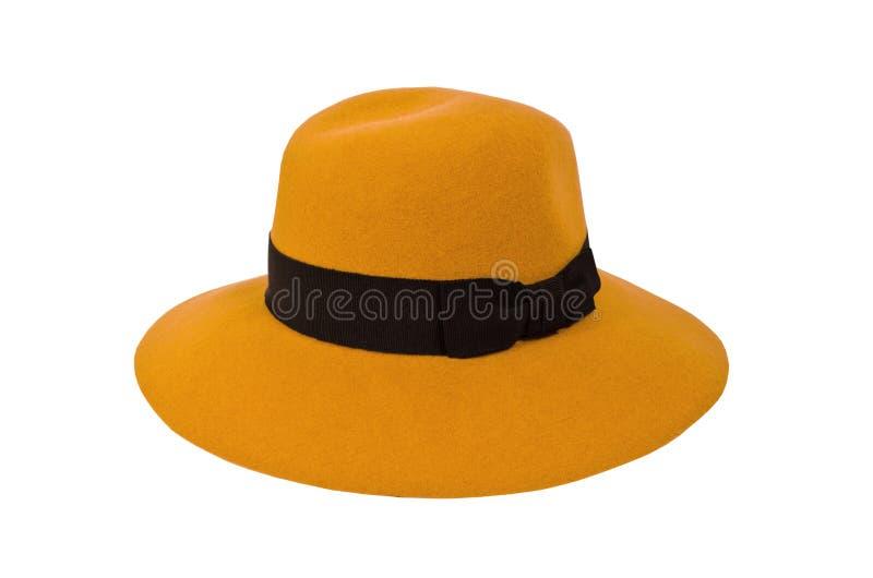 在白色背景隔绝的芥末帽子 免版税图库摄影