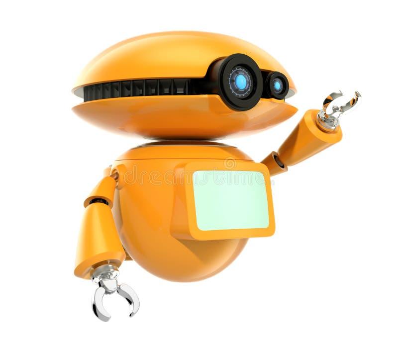 在白色背景隔绝的橙色机器人震动手 向量例证
