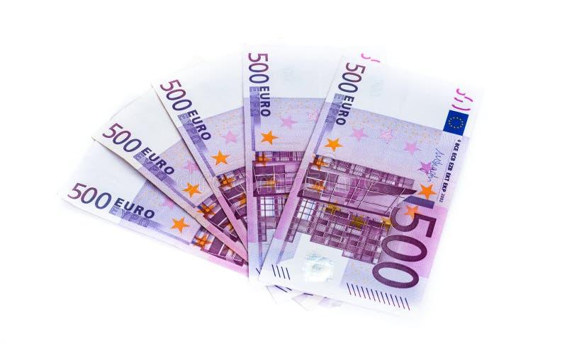 500在白色背景隔绝的欧元钞票 背景概念饮食金黄蛋的财务 免版税库存照片