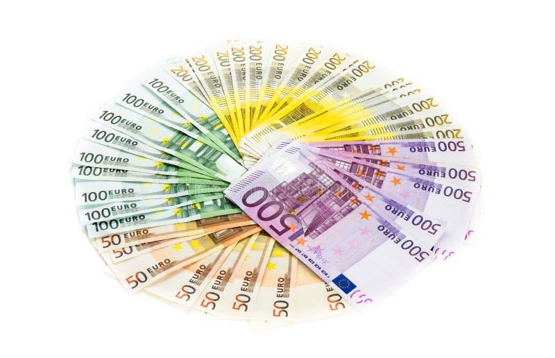 在白色背景隔绝的欧洲钞票金钱圈子  双边 免版税库存照片