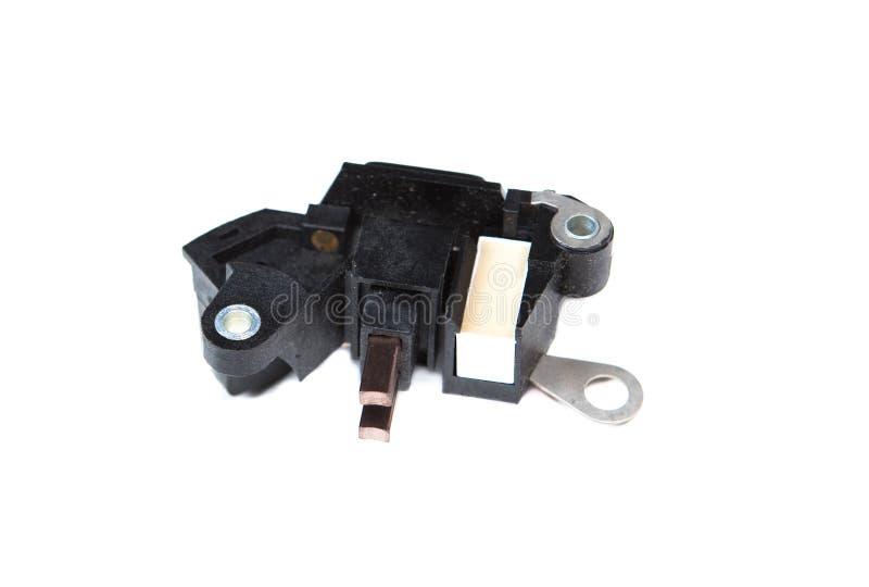 在白色背景隔绝的汽车自动电压调整器 库存图片