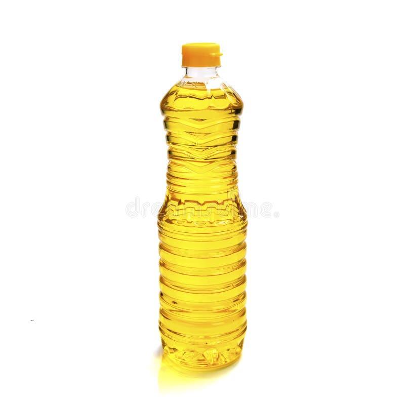 在白色背景隔绝的油瓶塑料 库存照片