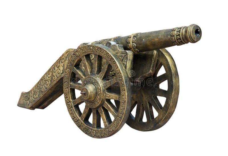 在白色背景隔绝的泰国古老大炮 免版税库存照片