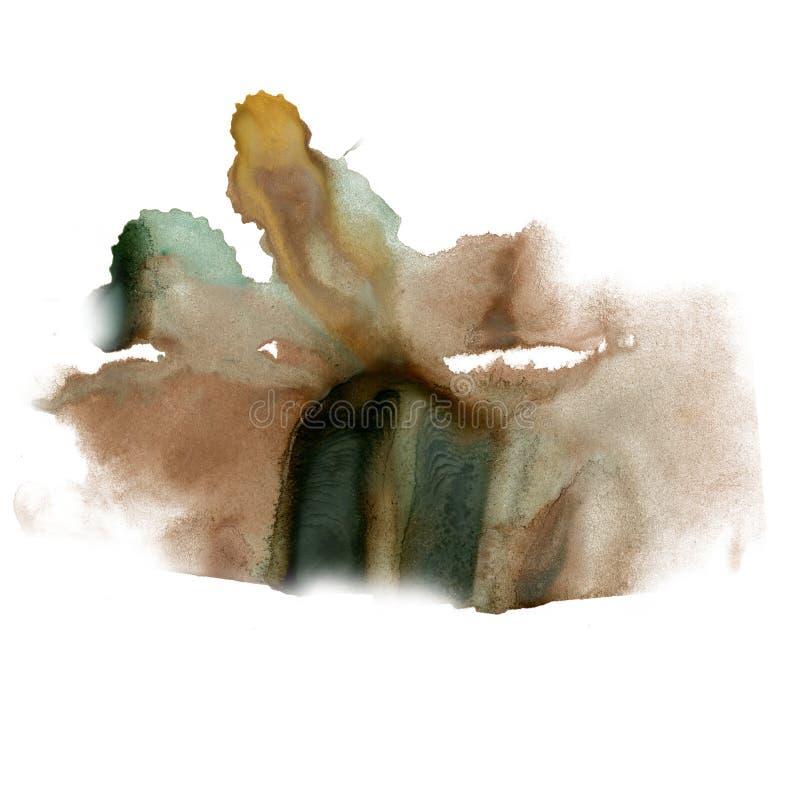 在白色背景隔绝的泼溅物墨水水彩染料褐色黑色液体水彩宏观斑点污点纹理 库存例证