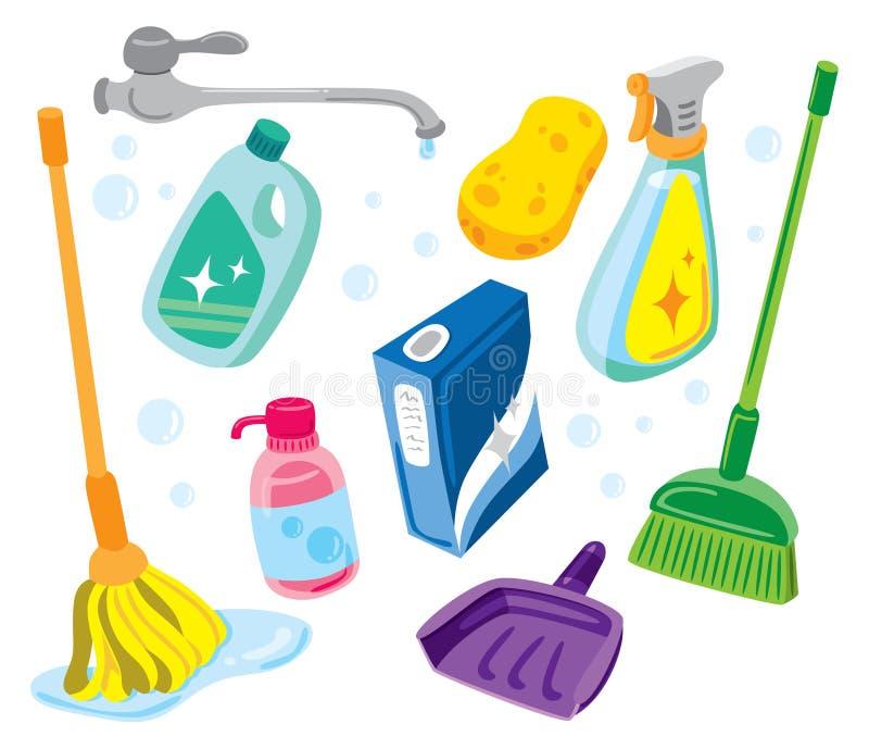 清洁成套工具 皇族释放例证