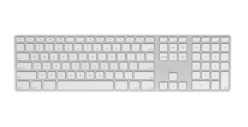在白色背景隔绝的灰色键盘。 免版税库存图片