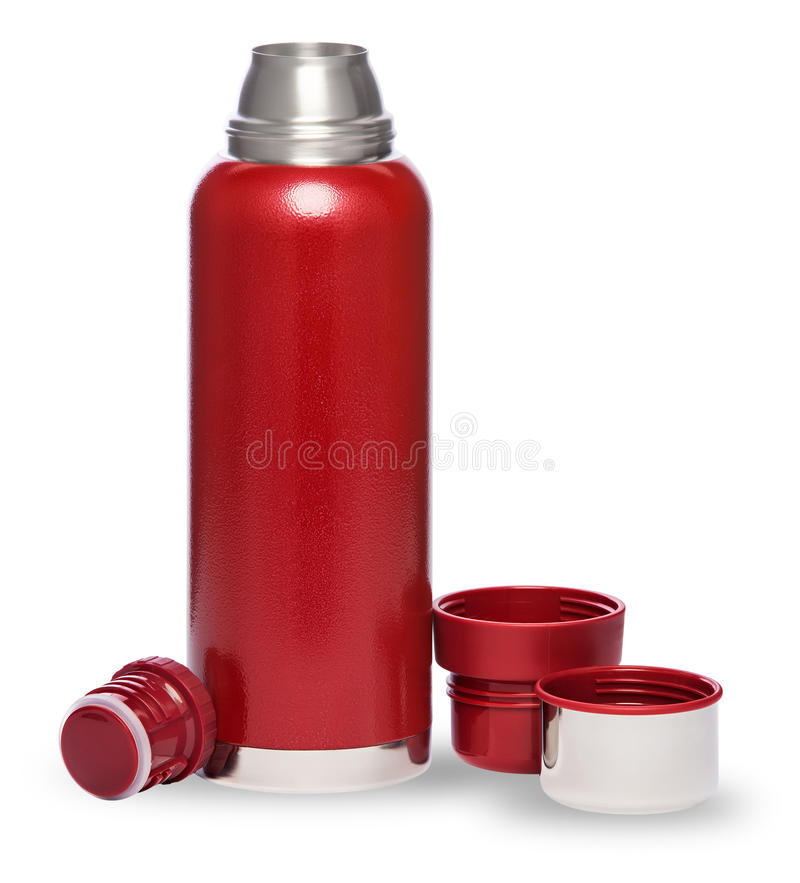 在白色背景隔绝的热瓶 免版税库存照片